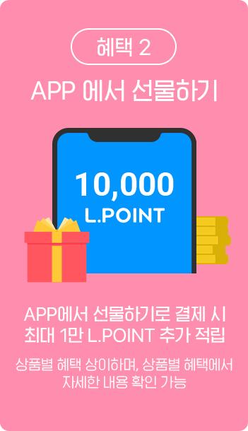 혜택 2 / APP 에서 선물하기 APP에서 선물하기로 결제 시 최대 1만 L.POINT 추가 적립