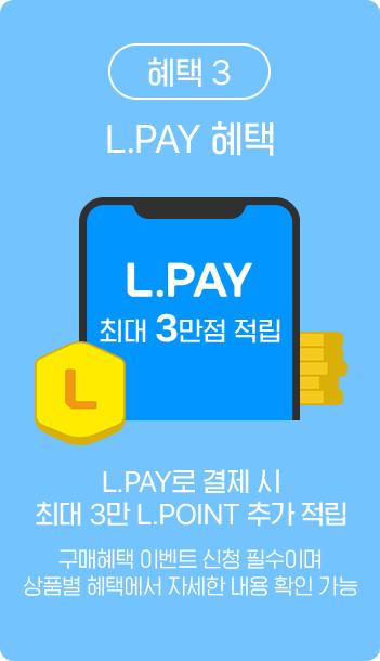 혜택 3 / L.Pay 혜택 L.Pay로 결제 시 최대 3만 L.POINT 추가 적립
