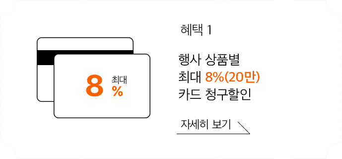 혜택1 행사 상품별 최대 7% 카드 청구할인