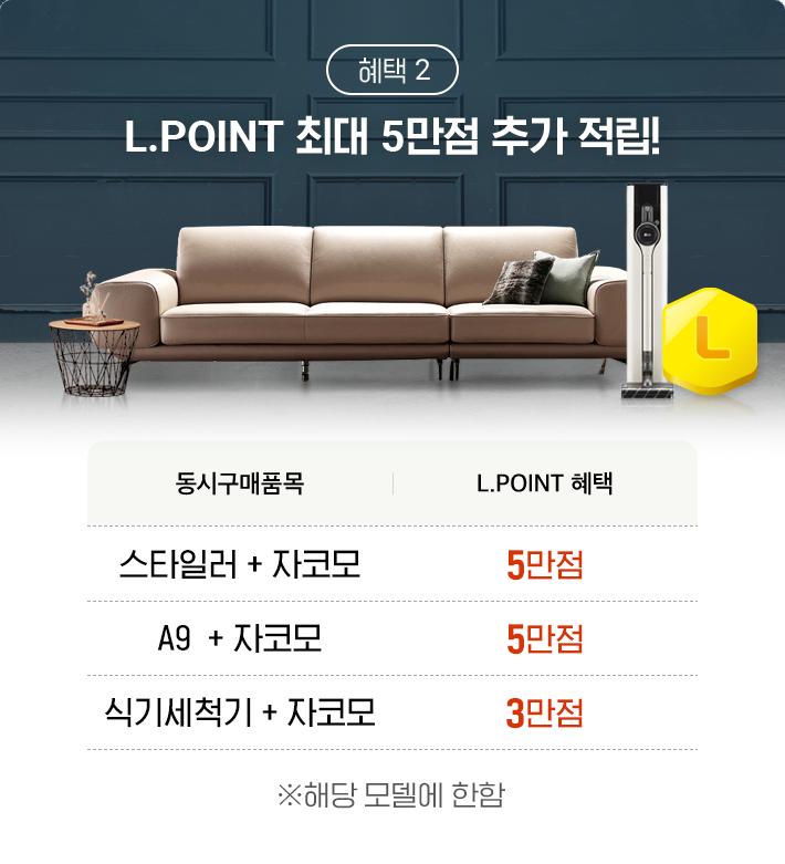 혜택 2, L.POINT 최대 5만점 추가 적립!