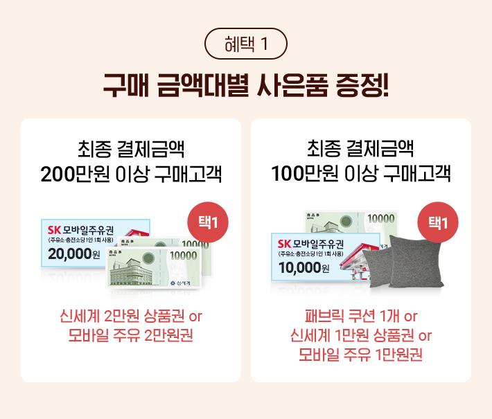 혜택 1, 구매 금액대별 사은품 증정!