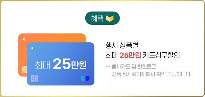 혜택1 행사 상품별 카드 청구할인