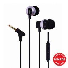 커널형 이어폰 HIMEAR-L0011BK [ 꼬임방지 플랫케이블 / MIC&Volume Control ]