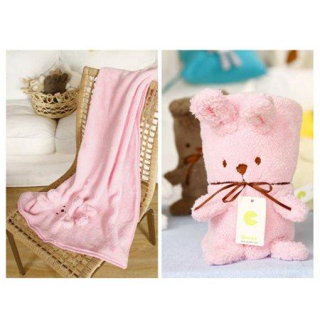 토끼인형 디자인 무릎담요 BUNNY BLANKET 핑크