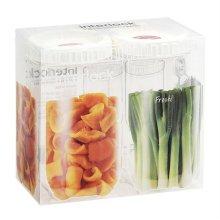 냉장고 문짝정리용기 인터락 중간형 1L 2개세트 / 화이트캡 (INL302S2)
