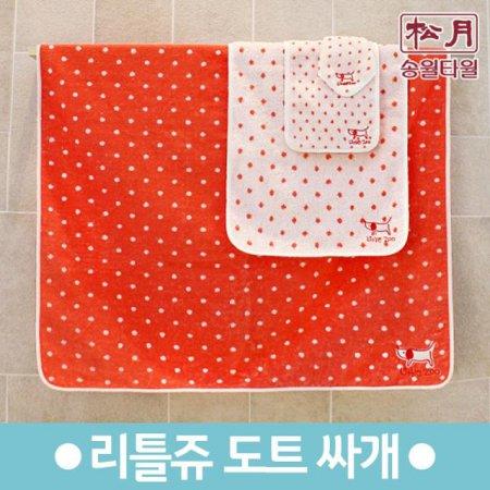 리틀쥬 도트선염 싸개 타올 (85x85cm/유아용) 1장 빨강