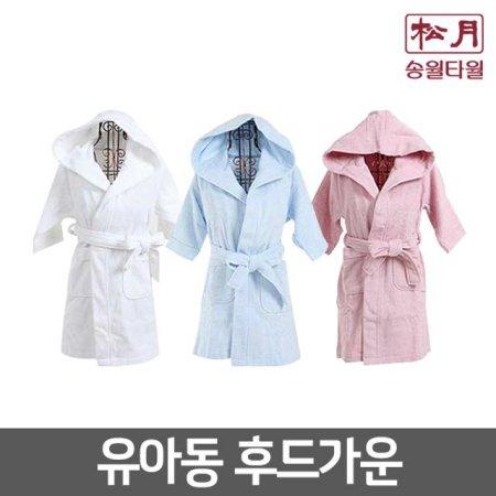 유아용 후드목욕가운 (유아동용/최고급면100%) 분홍-L