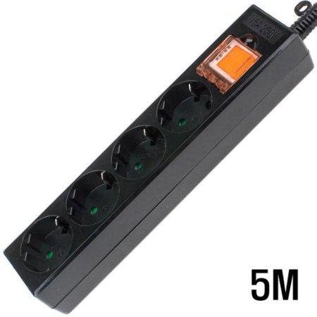 4구 접지 SW  멀티탭 BLACK 5M