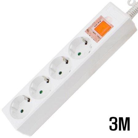 4구 접지 SW  멀티탭 WHITE 3M