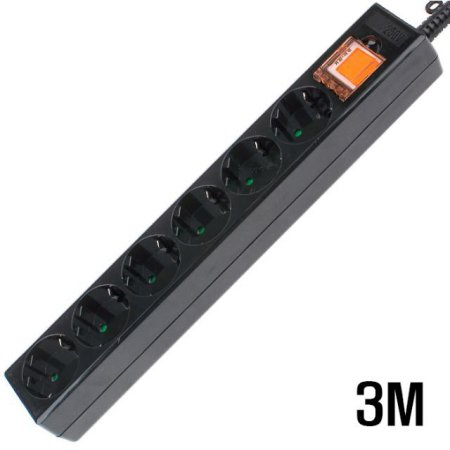 6구 접지 SW  멀티탭 BLACK 3M