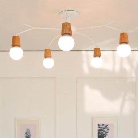 [LED] 보우 5등 거실등 화이트:전구색(노란빛)