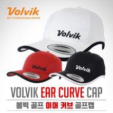 이어 커브 귀목커버장착 자외선차단 골프캡 모자 레드