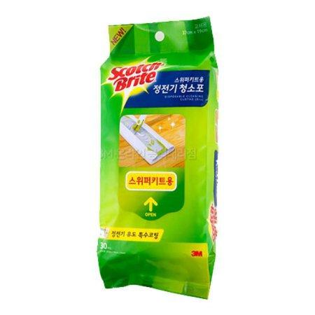 정전기청소포 스위퍼키트용 30매 [리필용 / 정전기 유도 특수 코팅 / 먼지포집력 우수] 3M-DRYCLOTH(SK)