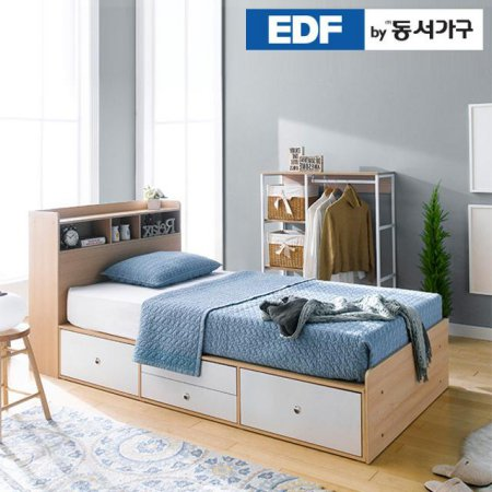 EDFby동서가구 루젠 수납헤드 깊은서랍 슈퍼싱글 침대 (매트리스포함) DFF598G _메이플그레이 콤비