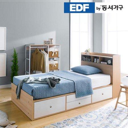EDFby동서가구 루젠 수납헤드 깊은서랍 슈퍼싱글 침대(독립스프링) DFF3598H _메이플그레이 콤비