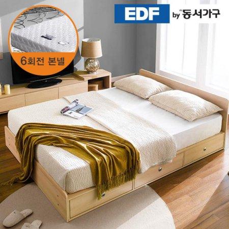 EDFby동서가구 루젠 깊은서랍 퀸 침대 (매트리스포함) DF636027 _메이플그레이 콤비