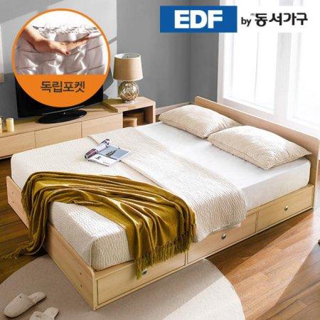 EDFby동서가구 루젠 깊은서랍 퀸 침대 (독립스프링) DF636028 _메이플화이트 콤비