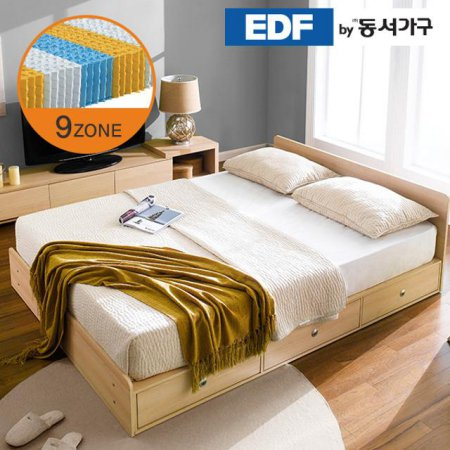 EDFby동서가구 루젠 깊은서랍 퀸 침대 (9존독립) DF636029 _메이플그레이 콤비
