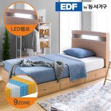 EDFby동서가구 루젠 LED조명 깊은서랍 슈퍼싱글 침대(9존독립) DF636049 _메이플