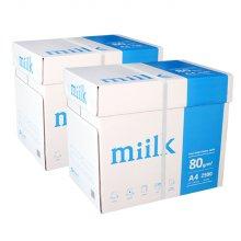 밀크 A4 복사용지(A4용지) 80g 2500매 2BOX(5000매)
