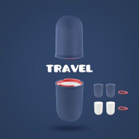여행 욕실 사무실 위생적인 칫솔치약보관 4PCS 양치컵 CLASSIC RED