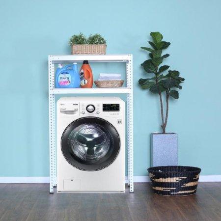 2단 무볼트 조립식앵글 드럼세탁기선반-화이트(800x400x1500/1.6T)