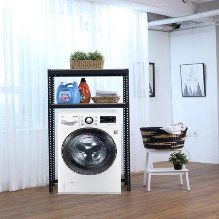 2단 무볼트 조립식앵글 드럼세탁기선반-블랙(800x400x1800/1.6T)