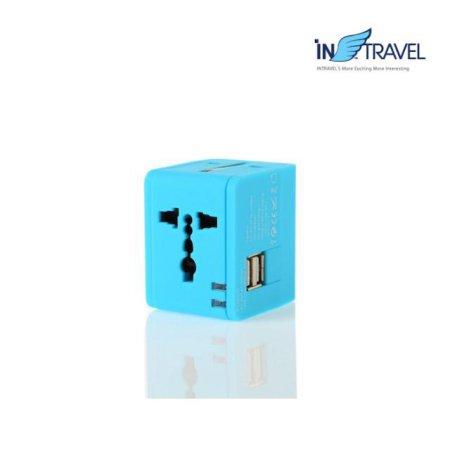 USB트래블아답터-큐브 듀얼포트(스카이블루) NO.0454
