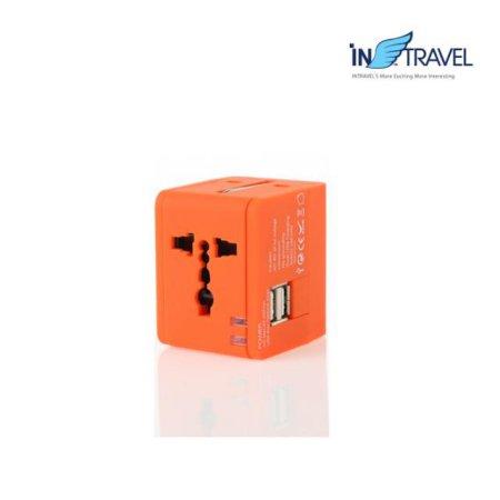 USB트래블아답터-큐브 듀얼포트(오렌지) NO.0454