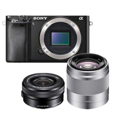 A6000 미러리스 [블랙] 더블렌즈KIT [본체+16-50mm+50mm][16GB메모리+가방]