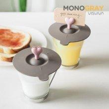 모노그레이 하트 컵덮개 2p