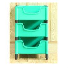 적층식 수납박스(3단)-그린-고정형