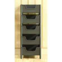 적층식 수납박스(5단)-블랙-고정형