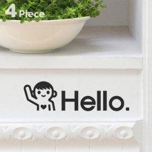 상상날개 Life sticker - 헬로우 시리즈(블랙,화이트) [라이프스티커,그래픽,데코] 블랙
