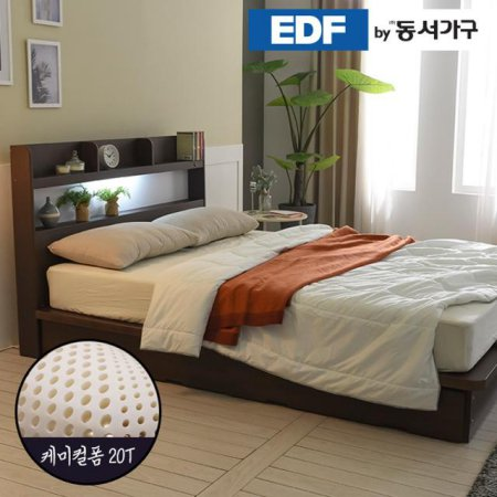 EDFby동서가구 라피 평상형 LED침대 슈퍼싱글 케미컬폼매트 DF636485 _오크