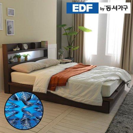 EDFby동서가구 라피 평상형 LED침대 퀸 양면매트 DF636487 _월넛