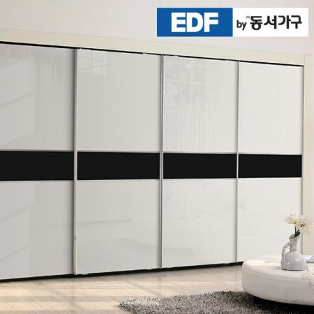 EDFby동서가구 시스템화이트펄 블랙밴드 슬라이딩 붙박이장 30cm DF636573
