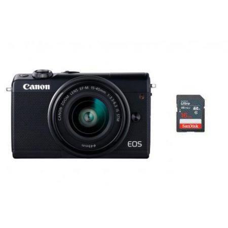 EOS-M100 미러리스 카메라[블랙][본체+15-45mm IS STM/EF-M마운트][16GB메모리+고래파우치]