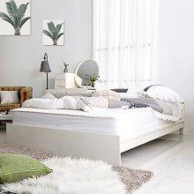 고무나무 LW 원목 화이트 저상형 퀸 침대