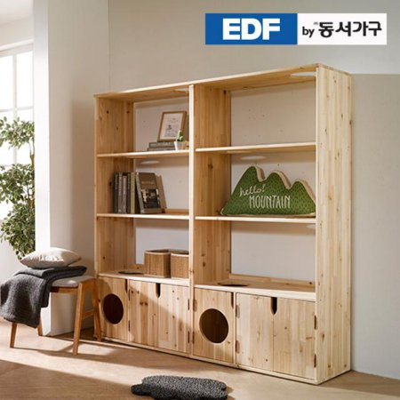 EDFby동서가구 펫츠펀 삼나무원목 책장형 캣타워화장실 DF636909