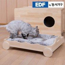 EDFby동서가구 펫츠펀 냥이멍이 손잡이형 소나무원목 침대(매트포함) DF636819 _내추럴
