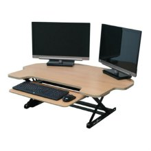 DeskTopDesk 높낮이 조절 스탠딩책상 DTD-C-EMB-SK [망블피치 / 코너형 / 슬라이드 키보드 받침대]
