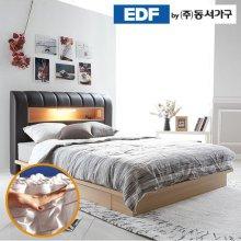 디아나 서랍형 통판 LED 퀸침대(독립매트리스) DF637040 _그레이월넛