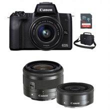 EOS-M50 미러리스 카메라 더블렌즈KIT[블랙][본체+15-45mm IS STM+22mm F2][16GB메모리카드+가방증정]