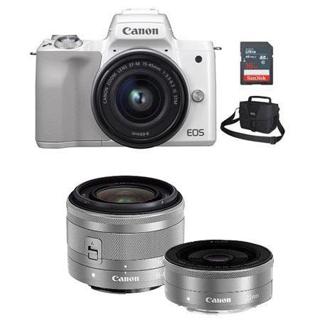 EOS-M50 미러리스 카메라 더블렌즈KIT[화이트][본체+15-45mm IS STM+22mm F2][16GB메모리카드+가방증정]
