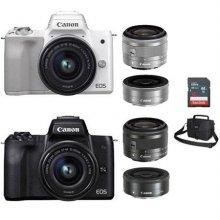 EOS-M50 미러리스 카메라 더블렌즈KIT[화이트][본체+15-45mm IS STM+22mm][16GB메모리카드+가방증정]