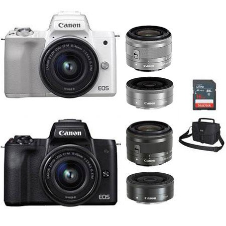 EOS-M50 미러리스 카메라 더블렌즈KIT[본체+15-45mm IS STM+22mm][16GB메모리카드+가방증정]