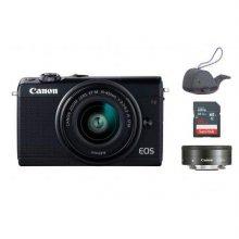 EOS-M100 미러리스 카메라 더블렌즈KIT[블랙][본체+15-45mm IS STM+22mm][16GB메모리+고래파우치]