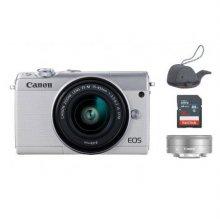 EOS-M100 미러리스 카메라 더블렌즈KIT[화이트][본체+15-45mm IS STM+22mm][16GB메모리+고래파우치]