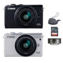 EOS-M100 미러리스 카메라 더블렌즈KIT[블랙][본체+15-45mm IS STM+22mm/EF-M마운트][16GB메모리+고래파우치]